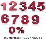 set of 3d red numbers sign. 3d... | Shutterstock . vector #1727700166