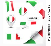 Made in Italy collection of ribbon, label, stickers, pointer, badge, icon and page curl with Italian flag symbol. Vector EPS10 illustration isolated on white background.