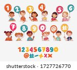 funny kids with number balloons.... | Shutterstock .eps vector #1727726770