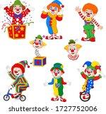 Set Of Cartoon Happy Clowns In...