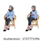 beautiful hijab woman sitting... | Shutterstock . vector #1727771596