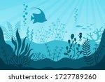 Aquarium Life. Silhouettes Of...