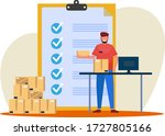 male warehouse workers check...   Shutterstock .eps vector #1727805166