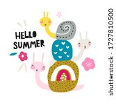 greeting card with cute snails. ... | Shutterstock .eps vector #1727810500