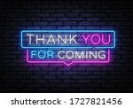 thank you for coming neon sign...   Shutterstock .eps vector #1727821456