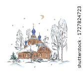 landscape orthodox church night ...   Shutterstock . vector #1727824723