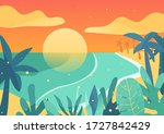 sunset by the sea. tropical...   Shutterstock .eps vector #1727842429