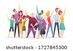 crowd concert. vector happy... | Shutterstock .eps vector #1727845300