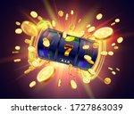 the black slot machine wins the ... | Shutterstock .eps vector #1727863039