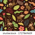 seamless pattern with cute... | Shutterstock .eps vector #1727869609
