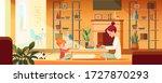 mother and daughter online...   Shutterstock .eps vector #1727870293