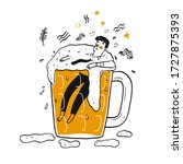 a man in the glass of beer. the ... | Shutterstock .eps vector #1727875393