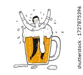 a man in the glass of beer. the ... | Shutterstock .eps vector #1727875396
