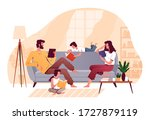 family reads books at home in... | Shutterstock .eps vector #1727879119