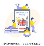 learn english online. tiny... | Shutterstock .eps vector #1727955319