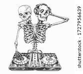dj skeleton man with two skulls ...   Shutterstock .eps vector #1727956639