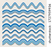 blue wave ornaments  vector set ... | Shutterstock .eps vector #1727959936