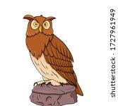 owl sitting on the stone vector ... | Shutterstock .eps vector #1727961949