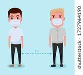social distancing  people... | Shutterstock .eps vector #1727964190