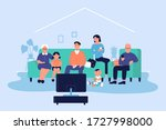 happy big family at home vector ... | Shutterstock .eps vector #1727998000