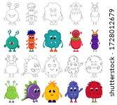 set of cute monsters... | Shutterstock .eps vector #1728012679