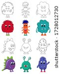 set of cute monsters... | Shutterstock .eps vector #1728012730