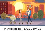 family walking with baby car at ... | Shutterstock . vector #1728019423