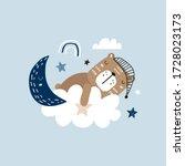 sleeping cute bear on a cloud.... | Shutterstock .eps vector #1728023173