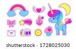 unicorn sticker set. cute... | Shutterstock .eps vector #1728025030