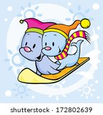 cute seal on snowboard   funny... | Shutterstock .eps vector #172802639