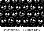 skull seamless pattern  vintage ... | Shutterstock .eps vector #1728051349