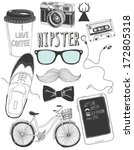 hand drawn hipster accessories