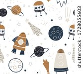 childish seamless pattern with... | Shutterstock .eps vector #1728055603