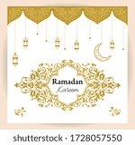 ramadan kareem greeting card.... | Shutterstock .eps vector #1728057550