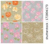 set of floral vector seamless... | Shutterstock .eps vector #172806173