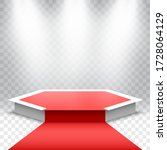 white podium with red carpet on ...   Shutterstock .eps vector #1728064129