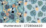 tropical seamless patterns set... | Shutterstock .eps vector #1728066610