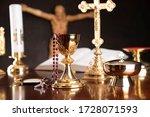 Christianity Symbols On Dark...