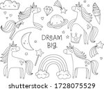 cute unicorns coloring page.... | Shutterstock .eps vector #1728075529