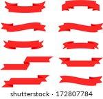 vector retro red ribbon set 2   ...   Shutterstock .eps vector #172807784