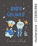 baby shower invitation with... | Shutterstock .eps vector #1728081883