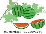 watermelon  watermelon tree ... | Shutterstock .eps vector #1728091969