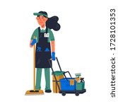 janitor   female janitor in...   Shutterstock .eps vector #1728101353