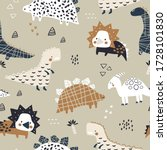 childish seamless pattern with... | Shutterstock .eps vector #1728101830