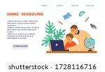 homeschooling or online...   Shutterstock .eps vector #1728116716