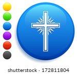 Christian Cross Icon On Round...