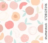 Doodle Peach. Vector Seamless...