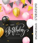 happy birthday poster with... | Shutterstock .eps vector #1728153193