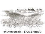 green grass field on small... | Shutterstock .eps vector #1728178810