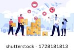 team of volunteers or... | Shutterstock .eps vector #1728181813